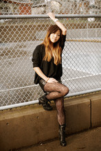 Nicole S. - Sparkle & Fade Scoop Neck Sweater, Forever 21 Faux Leather Shorts, Storets Boots - Nineteen ninety three