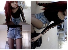 Wends Ma - Demonia Studded Creepers, Vintage Leather Choker, Custom Beavis And Butthead Studded Shorts - Something Someone Jnr.