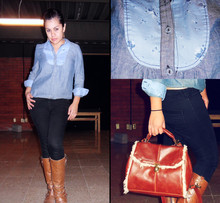 Jana T. - Levi's® Blue Denim Shirt, Zara Black Jeggins, Bershka Boots, Pull & Bear Lovely Bag - 17012011