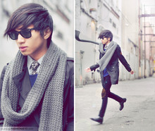 Mc kenneth Licon - Zara Stripped Socks, Vintage Croc Skinned Leather Shoes, Ray Ban Wayfarers, Zara Leopar Tie, Zara Micro Gingham Shirt, H&M Knit Scart, Zara Cobalt Blue (Squared Neckline) Cotton Silk Sweater, Forever 21 Self Altered Woman Trench Coat - Leopard tie (yes guys can wear leopard too)