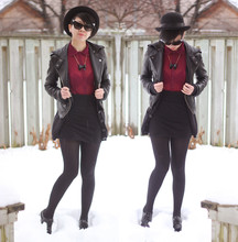 Sylvia W - H&M Bowler Hat, Ub Leather Motojacket, Sister's Closet Lace Button Up, Made It Myself High Waist Knit Skirt, Thrifted Patent Oxfords, Aldo Bow Necklace, Cat Eye Sunglasses - Even on a cloudy day
