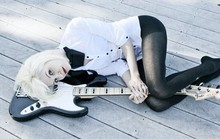 Jennie Vicious - H&M White Shirt With Black Bow, Secret The Best Black Tights Ever, Fender Geddy Lee Jazz Bass - I Heart My Bass