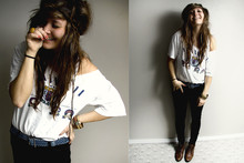 Bethany Olson - Thrift Store Hawaii Vintage Tee, Thrift Store Jean Belt, Thrift Store 80's Brown Danexx Lace Ups - Thrifty.