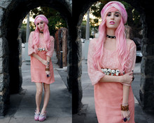 Audrey Kitching - Lazy Bones Vintage Peach Lace Dress, Diy Skull Belt, N/A Goth Necklace, Miu Shoes, Christian Dior Pink Turban - Lace Goth