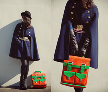 Shan Shan - Vintagev Cape, Bag - My Navy MILITARY CAPE