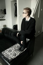 Matti Petteri Pöntiö - Cheap Monday Oversized Sweater, Mom Woolen Socks, Black Jeans, White Collar Shirt, Black Tie - Comfty Stuff