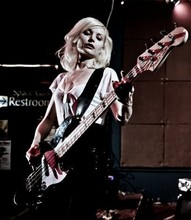 Jennie Vicious - White Deep V, Black Sequin Mini Skirt, My Husband Dog Tag Necklace, Fender Geddy Lee Jazz Bass - I Heart My Bass Part II