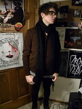Johnny Cook dooley - Urban Outfitters Black Scarf, Pacsun Burgundy Cardigan, Black N White Scarf, Pacsun Black Skinny Jeans, Aldo Brown Leather Shoes - Night time is our time