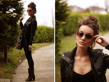 Anouska Proetta Brandon - Topshop Leather Jacket, Aldo Bag, River Island Boots, American Apparel Disco Pants - A friend who's dressed in Leather
