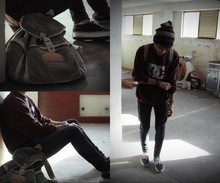 Eduardo Ferreira - Zara Beanie, Dc Shoes Sweater, Pull & Bear Jeans, Vans, Miltary Backpack - Jack Johnson - Banana pancakes