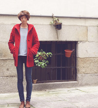 Alejandra G. Remón - Topshop Douffle Coat, Petit Bateau Sweater, Diesel Jeans, Hakei Shoes - French navy