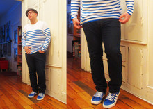 Russ T - H&M Sweater, Adidas Sneakers, Levi's® Skinny J - Love IS Blue