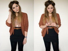 Lily Melrose - New Look Body Con Skirt, Primark Sheer Blouse, Yayer Rust Cardigan, Zara Magnafying Glass Necklace, Primark Knotted Belt - So kiss me