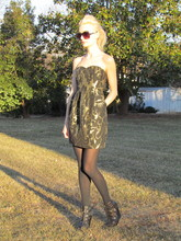 Jennie Vicious - Etsy Http://Www.Etsy.Com/Listing/66506365/Gold Brocade Tulip Dress Gold Brocade Mini Dress, Jessica Simpson Buckle Platform Shoes, Mossimo Oversized Shades - Gold Brocade
