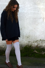 Marta Castellanos - Undefined Velvet Skirt, Primark Oxfords, Calcedonia Long Socks - Velvet...again? Yes