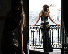 Caroline Daily - Anna Rivka Headband, Maxime Simoëns Dress - Noir et or sur les toits de Paris