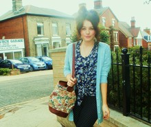 Demi Lauren Abbott - Charity Shop Floral Tap Bag, Topshop Heart Cardigan, Floral Blouse - X