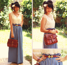 Connie Cao - Diva Necklace Worn As Hairchain, Vintage Top, Asos Belt, Robot Ninjas Maxi, Vintage Bag - M a x i