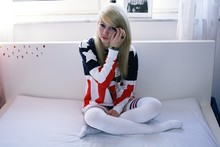 Anna Bolika - Topshop American Flag Sweater, American Apparel Over Knee Socks - We no speak americano