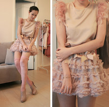 Mayo Wo - Mango Pale Pink Vest With Feather, Topshop Pale Pink Tutu, Topshop Pink Lace Tights - Swan flu