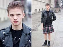 Jan Werner - Leather Jacket, Kilt, Doc's - Don't hold it against me