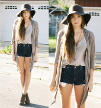 Bethany Struble - Floppy Wool Hat, Calvin Klein Silk Blouse, Diy Cut Off Shorts, Cotton On Tan Wedges - Screaming out the Car Window