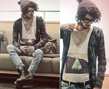 Bobby Raffin - Diy Desktop T, Tie Dye Cardigan, Beanie, H&M Slim Fit Acid Wash Jeans, Leather Braided Belt, Combat Boots, Nerd Glasses, Book Bag - Insomniac