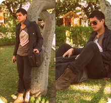 Axel Marquez - Zara Jacket, Pull & Bear Black Bag, Vans Sunglasses, Zara Vintage Boots - Ready to draw..!!