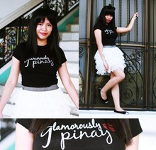 JayTee F - Lady Gaga Inspired Hair Ribbon Head Dress, Penshoppe Pinoy Statement Tee, Fievre White Tutu Skirt, Pabder Black Doll Shoes - Princess TuTu is Glamorously PINAY :$ (and proud to be one)