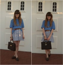 Claire Mcmanus - Valleygirl Skirt, Thrifted Satchel, Thrifted Loafers, Vintage Belt - Behind blue eyes