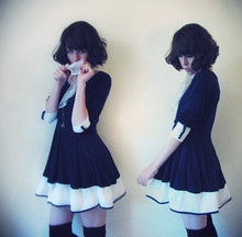 Sushi Girl - Wholesale Dress Colour Block, American Apparel Thigh High Socks - Outfit du jour