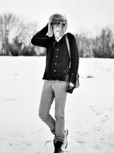 James T - H&M Fur Hat, New Look V Neck Jumped, H&M Black Chunky Cardi, Zara Grey Jeans, Dr. Martens Black Boots - Last winter