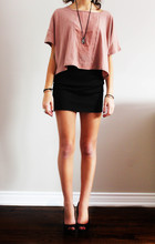 S. T - H&M Cotton/Sheer Top, Forever 21 Black Pencil Skirt, Zara Black Peep Toes - Someday