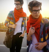 "Adam Gallagher - H&M Oversized Knit Scarf, H&M Multi Colored Cardigan - She asked me how to spell ""Orange"""