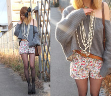Asami Takata - Floral Shorts, Sweater - Lazy days
