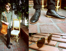 Dylan C - Ray Ban Vintage Round Sunglasses, H&M Olive Button Up, Tarja Leather Gold/Brown Vintage Bag, American Apparel Pants, Zuriick Black Nico Boots - Transmission