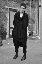 Nicklas Due - Monki Black Cotton Cardigan, H&M Black Transparent Scarf, Weekday Oversize Grey Wool Cardigan, Secondhand Black Leather Shoes, Secondhand Black Leather Effect Jeans - -u▲▲