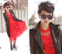 Sylvia W - Brass Leaf Hairband, Ub Leather Motojacket, My Mom Vintage Red Dress, Jeffrey Campbell Pixie Wedge Booties - Painting the town