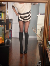 S. T - Knit Top, Awesome Socks, Costa Blanca Leather Heels - Her arms are wicked and her legs are long