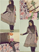Nor Alifah A - Main Bazaar, Waterfront, Kuching Hippie Boho Sequin Sling Bag, Forever 21 Key Ring, Hock Lee, Kuching Braided Leather Belt, Main Bazaar Kuching Flower & Wood Bracelet, Plaza Alam Sentral, Shah Flower Paisley Dress, Vincci Rainbow Flat Pumps - Brown Flower Paisley
