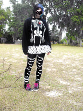 ♥Leena Evans - Skeleton Sweater, Goodwill White & Black Spotted Skirt, Ebay Bat Tights, Ross Black And Rainbow Shoes - Halloween in February.