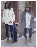 Mali Rêve - Vintage Coat, Cheap Monday Jeans, Elite Boots, Wholesaledress Jumper, Vintage Hat - Walking on the street...