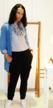 MS P - River Island Scarve, Zara Stripe T Shirt, Zara Tracksuit Pants, Converse - Not easy to please..................