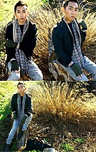 Jaden Tran - Urban Outfitters Militraty Jacket, Banana Republic Cardigans, Burberry Signature Scarf, Metropark Fingerless Gloves - EVERGREEN POI$ONED