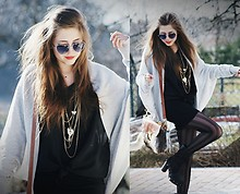 Kasia Szymków - H&M Necklaces, Romwe Tights, Fur Bag, Black Chiffon Shirt - Changes