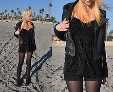 Mollie Paige - Asos Leather Jacket, Forever 21 Velvet Babydoll Top, Forever 21 High Waisted Shorts, L.A.M.B. Triple Lace Boots - When we're gone I feel I never miss anyone