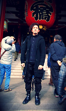 Henri K - Dior Homme Black High Cut Straps Boots, Julius Black Combat Cargo Pants, Zara Black Knit Overcoat - A Winter-Cold Lunar New Year in Tokyo