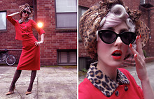 Stella Rose . - Vintage Leopard Scarf, Beacons Closet, Brooklyn Black Cat Eye Glasses, Vintage Fuchsia And Leopard Jacket, Vintage Fuchsia Skirt, American Apparel Sheer Black Heart Stockings, Vintage Leopard Pony Hair Pumps - Starlet