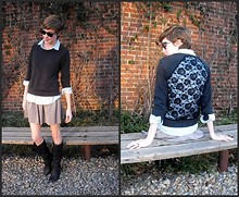 Ajenda J - Champagne Skirt, Forever 21 Sweat Shirt, Wal Mart Jean Shirt, Black Boots - Yes You...
