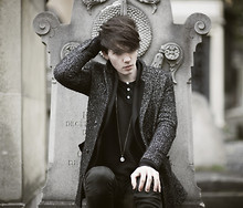Romain Le Cam - The Kooples Grey Tweed Coat, Agnès B Black Cotton Jacket, American Apparel Black Cotton Long Sleeves Tshirt, Agnes B Black Cashmere Jumper, April 77 Black Skinny Jeans, Grandmother's Silver Necklace - A GRAVE WITH NO NAME